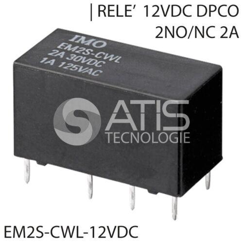 RELE/' 12VDC 2A DPCO 2NO//NC MINIATURIZZATO PCB RELAY RELE RELè  EM2S-CWL-12VDC