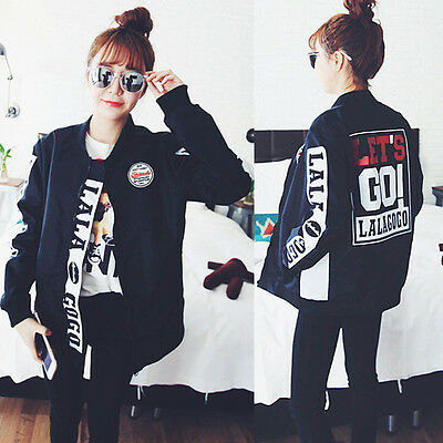 Autumn Korean Fashion Student Printed Jacket Zipper Outdoor Casual Trench Coat