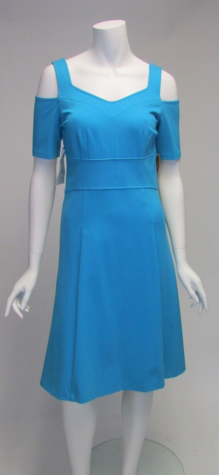 NUE by Shani bluee Short Sleeve Off On the Shoulder Slimming Dress Sz 4 NWT  250