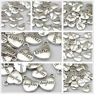 Quality-Tibetan-Silver-Heart-Pendants-Charms-grandma-mom-aunt-sister-daughter