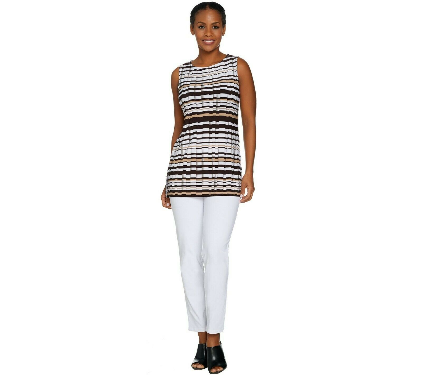 Women with Control Petite Ankle Pants & Printed Tunic Set White PM Size QVC