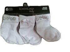 NWT Bebe 6 Pairs Baby Girls  White Socks 6-12 Months  BEAUTIFUL