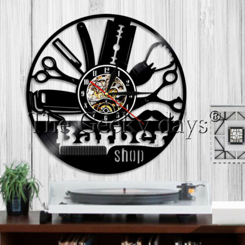 Beauty Salon Vinyl Record Clock Barber Shop Wall Clock Haircut Hairdresser Gift