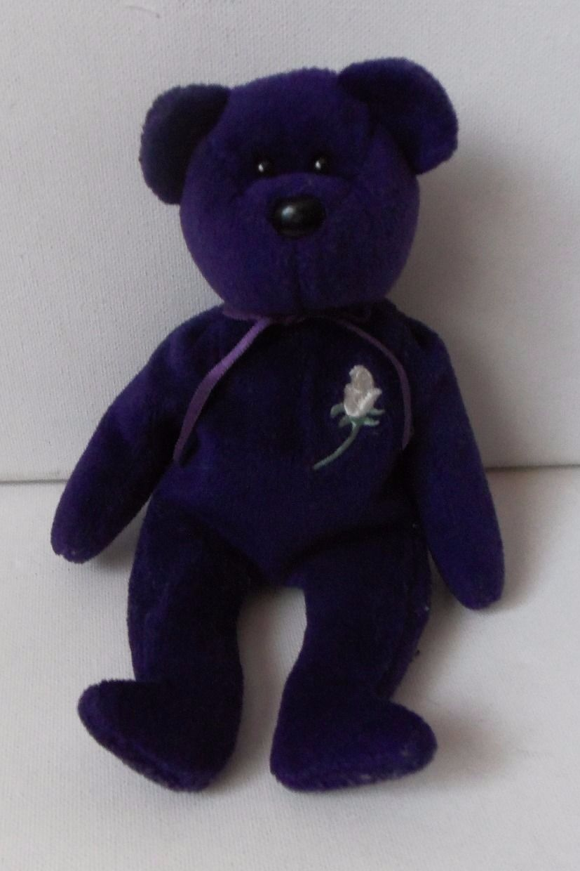 TY The Beanie Babies Purple Princess Bear Animal Plush Soft Toy 1997 Teddy