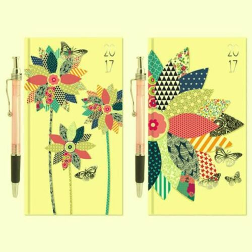 2017 Slim Diary & Pen Week to View format - Geometric Flowers