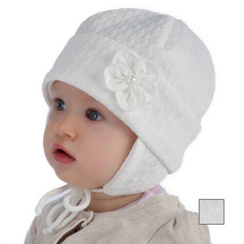 3-9 months Spring baby hat Christening white hat little girl size 40 42 44
