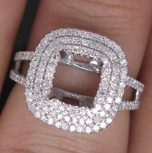 Cushion-Cut-7-7mm-Solid-14Kt-W-Gold-Natural-Diamond-Semi-Mount-Engagement-Ring