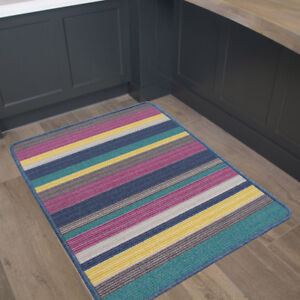Image Is Loading Washable Colourful Stripes Non Slip Rubber Floor Mat