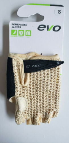 Evo E-Tec Retro Mesh Short Finger Cycling Gloves Mens Beige Choose Size Below