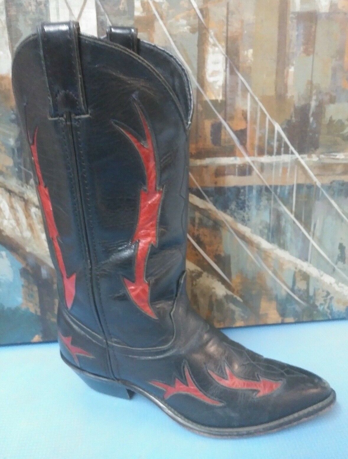 Damenschuhe CODE WEST BLACK ROT LEATHER CUT OUT INLAY COWBOY WESTERN BOOTS 7 M