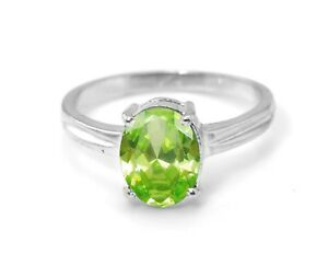 925-Sterling-Silver-Ring-Peridot-Natural-Green-Solitaire-Gemstone-Size-4-11