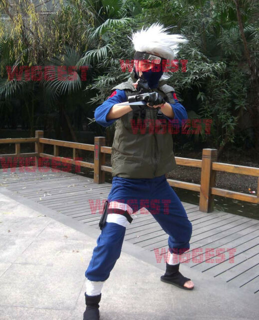 Naruto Hatake Kakashi Cosplay Costume 3 Pcs(Shirt + Pants + Vest) Jounin Uniform