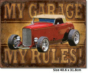 My-Garage-My-Rules-Hot-Rod-Rustic-Tin-Sign-1761-Made-in-USA