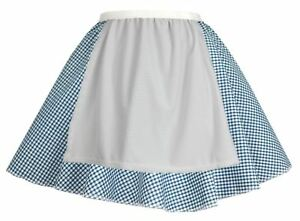 Ladies-Blue-Gingham-Skater-Skirt-With-Apron-COWGIRL-Easter-Fancy-Dress