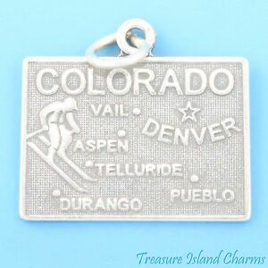 Colorado State Map 925 Solid Sterling Silver Charm Aspen Denver