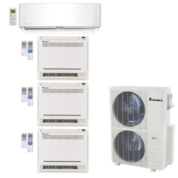 Klimaire 4-Zone 50K BTU 21 Seer 9K Wall 18000 X3 Console AC MiniSplit Heat  Kits