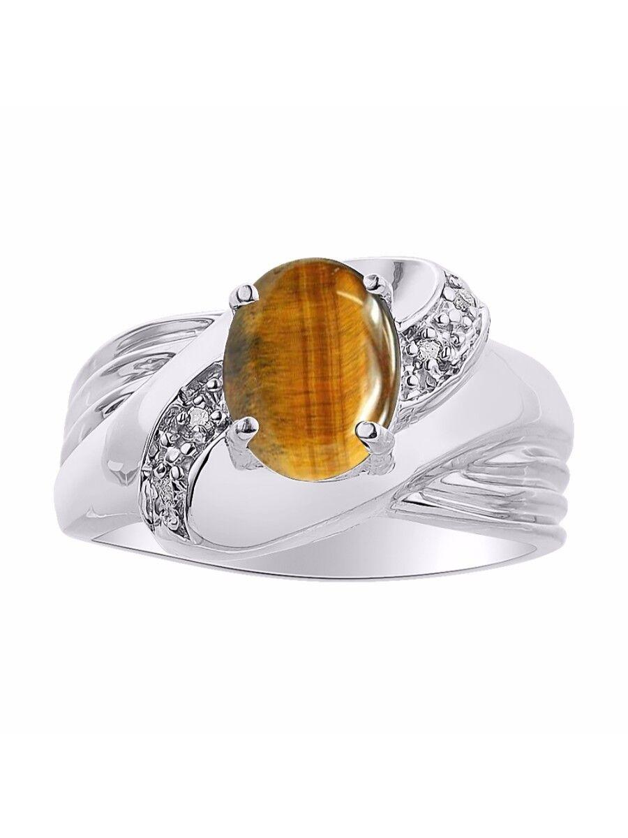 Diamond & Tiger Eye Ring Set In 14K White gold - color Stone Birthstone Ring LR6