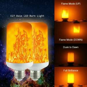 LED Flame Effect Simulated Nature Fire Light Bulb 9W E27 Party Decor Lamp 4Modes