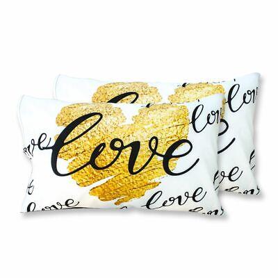 Coppia Federe Per Guanciale Gold Heart I Love Sleeping Stampa Digitale 3d Cot... Disabilità Strutturali
