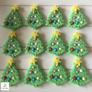 Edible Christmas Tree.Details About 12 Edible Christmas Trees Green Sugar Cake Cup Cake Toppers Decorations