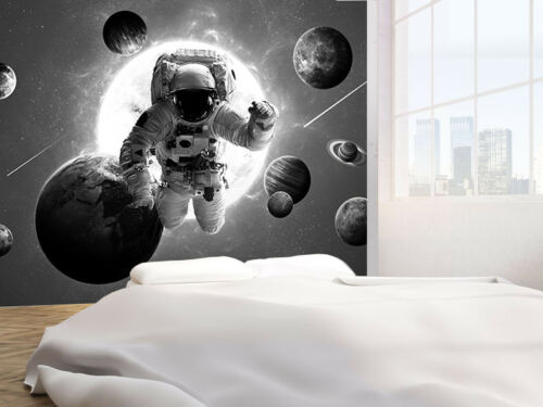 Astronaut and Planets black and white photo Wallpaper wall mural 50430092