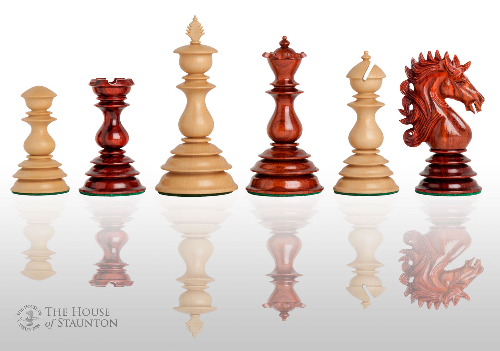 USCF Sales The Brindis Luxury Chess Set - Pieces Only - 4.4  King - Blood Rosewo