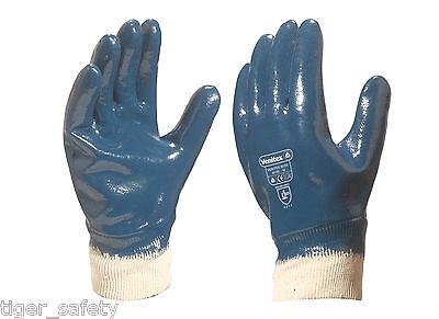 12 Pairs Delta Plus Venitex NI175 Blue Nitrile Open Cuff Work Gloves Size 9-11