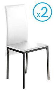 Detalles de Pack 2 sillas blanco Saona modernas polipiel comedor salon  cocina 97x51x42