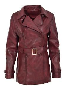 Double Length Burgundy Leather Trench Fitted Mid Breasted Reefer Coat Ladies dxqtz6wd