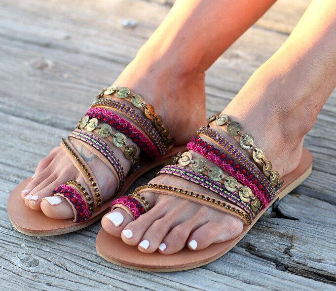 Women Bohemia Ethnic Clip Toe Sandals Roman Casual Flat Slippers Beach Scuffs Sz