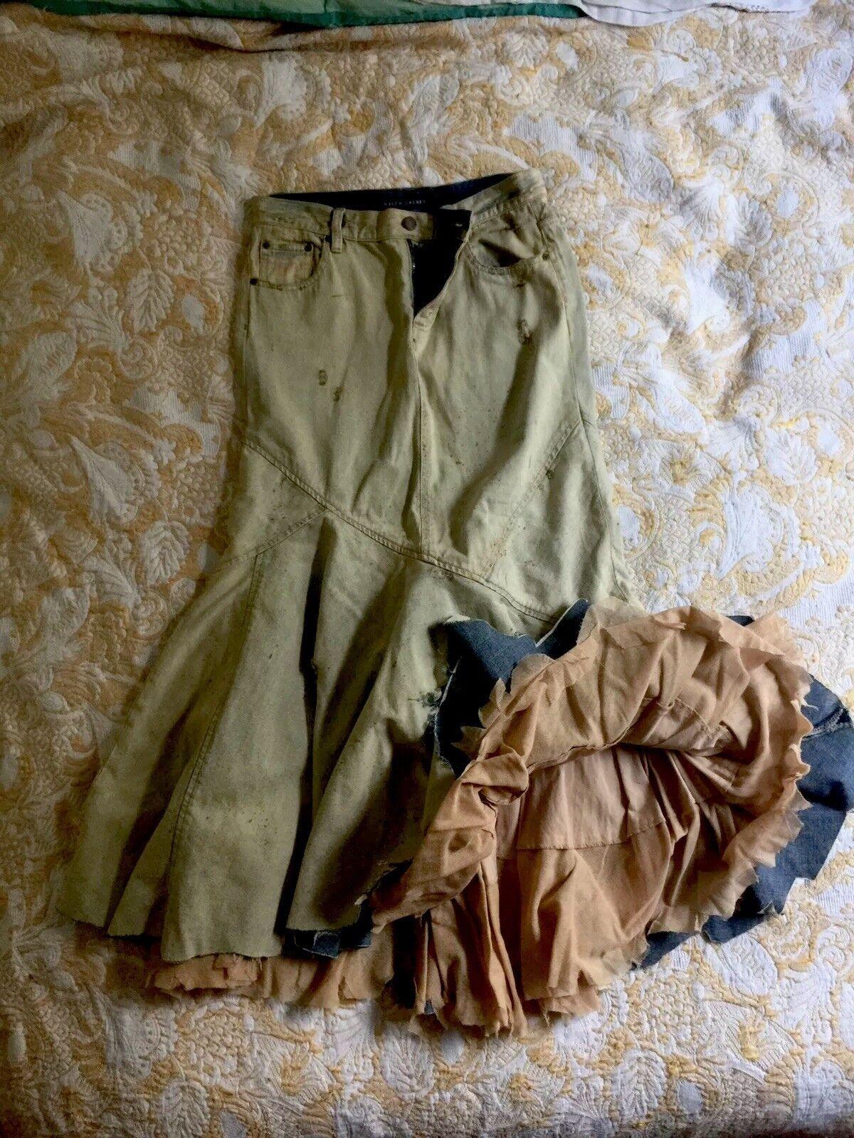 Distressed prairies Denim Skirt By Ralph Lauren