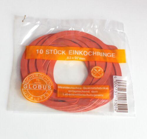 Einkoch Anneaux 83 x 97 mm Globe Rouge 10 Pièces Nouveau neuf dans sa boîte 57