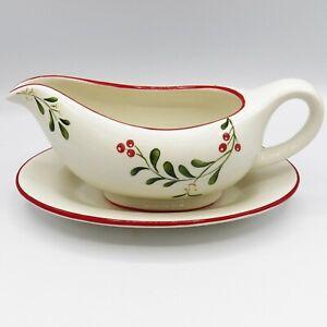 Better-Homes-amp-Gardens-MISTLETOE-Gravy-Boat-Set-Christmas-Heritage-Collection