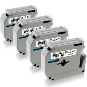 4PK Label Tape for Brother P-Touch eqv. M231 M-K231 MK231 12mm Black on White US 6936035900784