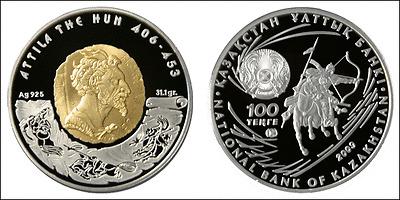Kazakhstan: 100 Tenge plata 2009 proof ATTILA THE HUN  Kazajistan Rey Atila