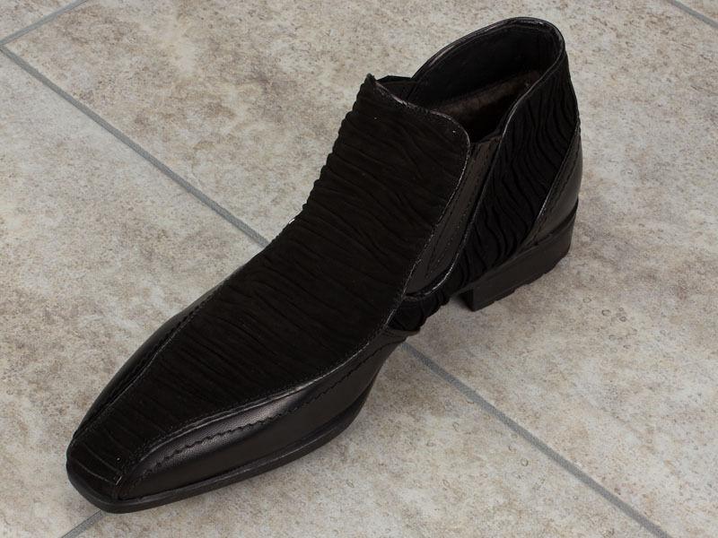 Bagatto Cuero Italiano botas Invierno Piel Tallas 10 Nuevo Negro