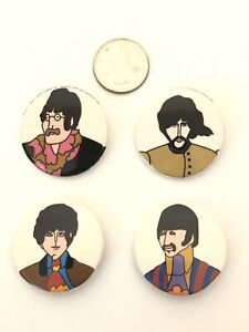 Vintage-The-Beatles-Yellow-Submarine-Set-of-4-Pc-pin-Back-Button-Vintage-1-1-4-034