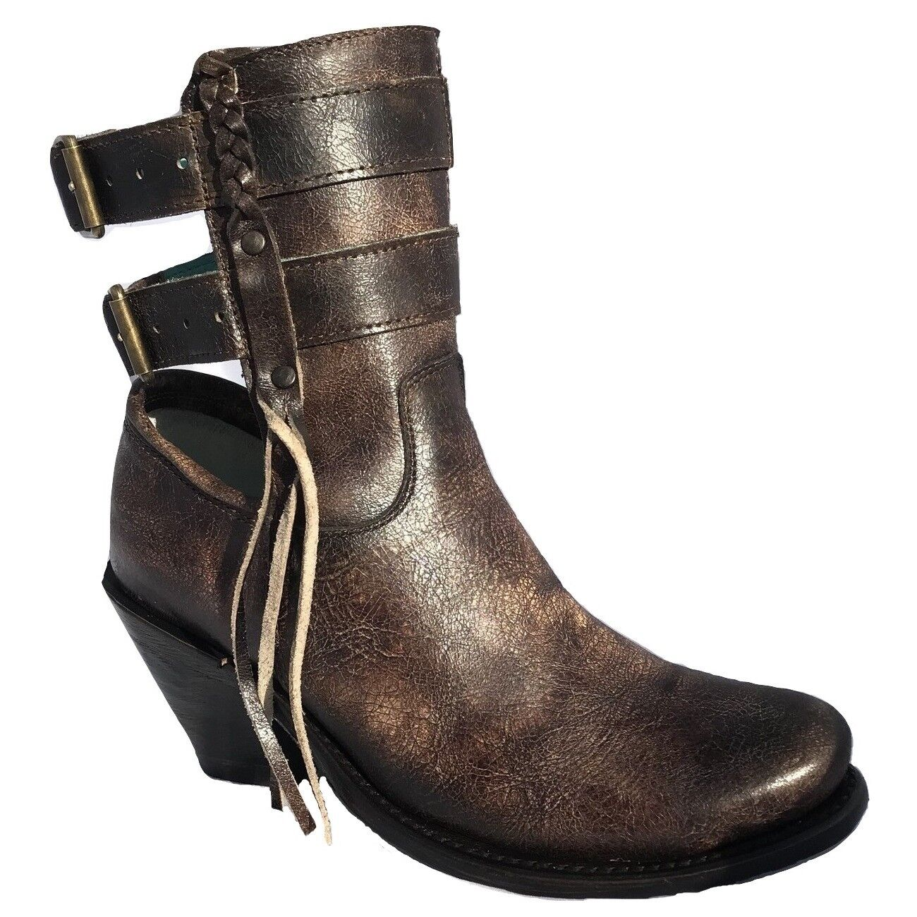 Corral Ladies Brown Buckle Straps Bootie A3233