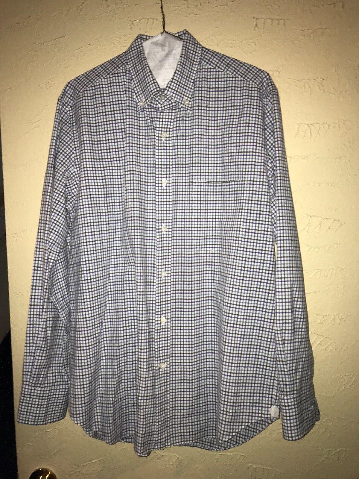 Lgold Piana Button Down Shirt Sz Large Plaid  100% Cotton
