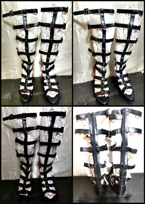 "SEXY Leg Avenue Collection Size 8 Black Faux Leather Gladiator Buckles 4"" Heels"