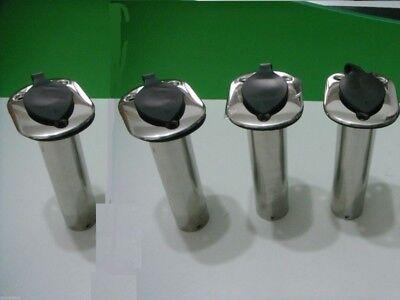 Set of 4 Rod Holder Flush Mount Stainless Steel Fishing Rod Holders 90 Degree