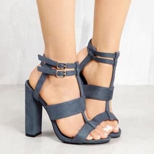 Femme Femme Bloc Talon Haut Boucle Cheville Sangle Bout Ouvert Fête Sandales Chaussures