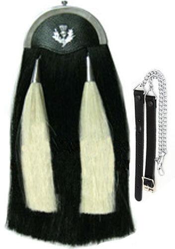 Black Horse Hair Sporran with Two white Tassel 100 /%Original Long Horse hair