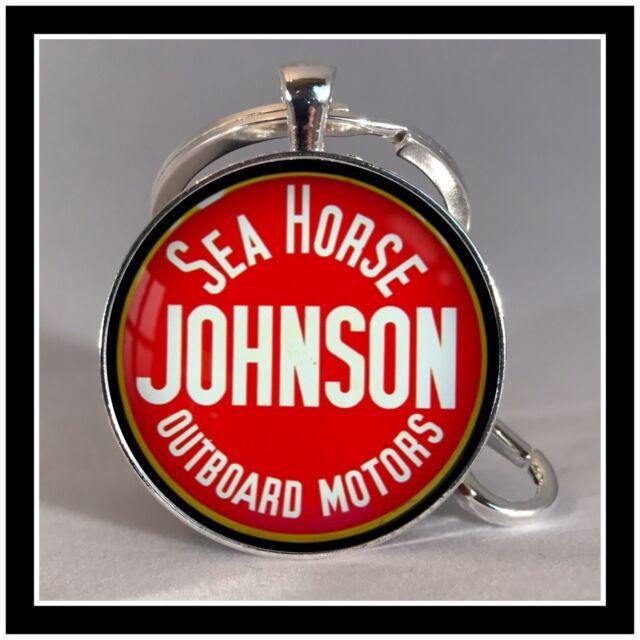 Vintage Johnson Sea Horse boat motor sign photo keychain Fishing Gift