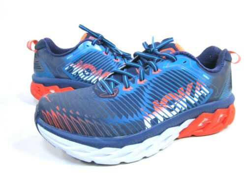 HOKA ONE ONE MEN/'S ARAHI RUNNING SHOES PRE-OWNED MEDIEVAL BLUE//RED ORANGE