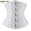 Plus Size Spiral Steel Boned Waist Training Underbust Lace Up Corset Top Shaper