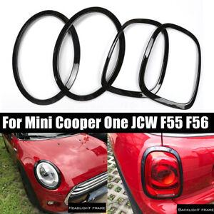 4pcs-Nero-Faro-e-Posteriore-Luce-Anello-Trim-Per-BMW-Mini-Cooper-One-JCW-F55-F56