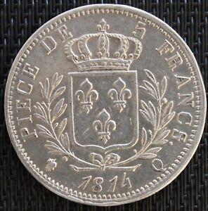 FRANCE-5-FRANCS-LOUIS-XVIII-1814-Q-ARGENT