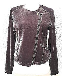 SOFT-SURROUNDINGS-Womens-Moto-Jacket-Petite-XS-Asymmetric-Zip-Brown-LS-Lined