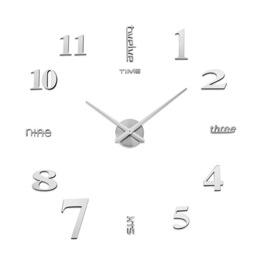 3D DIY Acryl Rahmenlose Ziffern Wandaufkleber Uhr Wanduhr Wohnkultur Geschenke